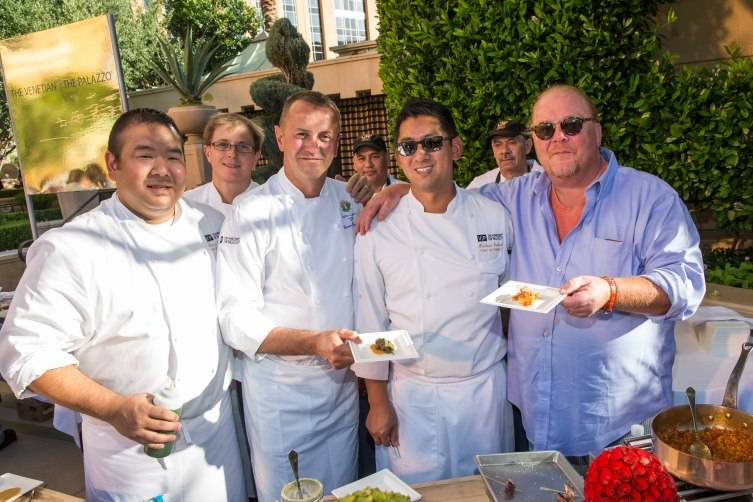 Chef Mario Batali stops by to see the culinary team from The Venetian and The Palazzo during the 7th Annual Carnival of Cuisine