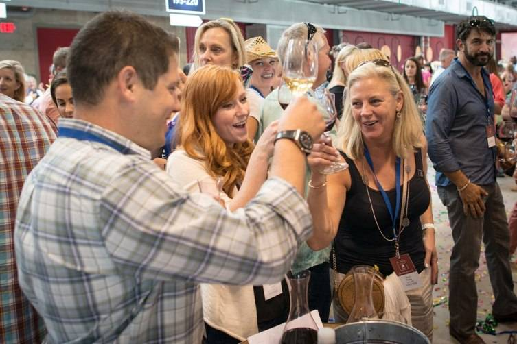Cherie Melka of Melka Wines celebrates the  win with their  barrel of 2014 Cabernet Sauvignon  going for $15, 000 per case or more than $100,000.