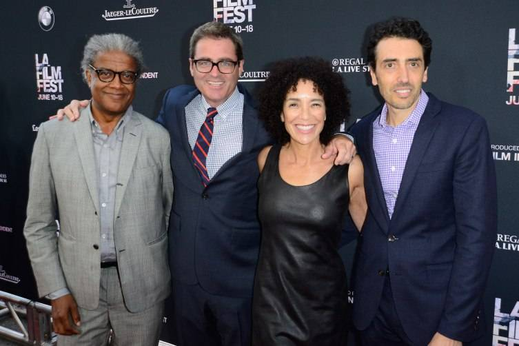 """LOS ANGELES, CA - JUNE 10:  (L-R) Film Independent Curator Elvis Mitchell, President of Film Independent Josh Welsh, LA Film Festival Director Stephanie Allain and President of Jaeger-LeCoultre Philippe Bonay attend the opening night premiere of """"Grandma"""" during the 2015 Los Angeles Film Festival at Regal Cinemas L.A. Live on June 10, 2015 in Los Angeles, California.  (Photo by Jerod Harris/WireImage)"""