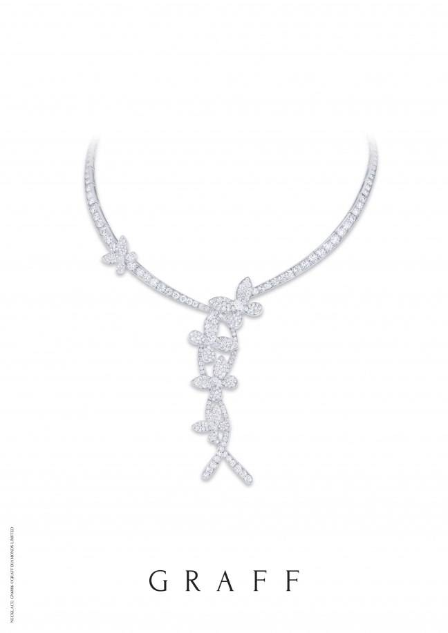 GN6886 Diam pave butterfly twist necklace