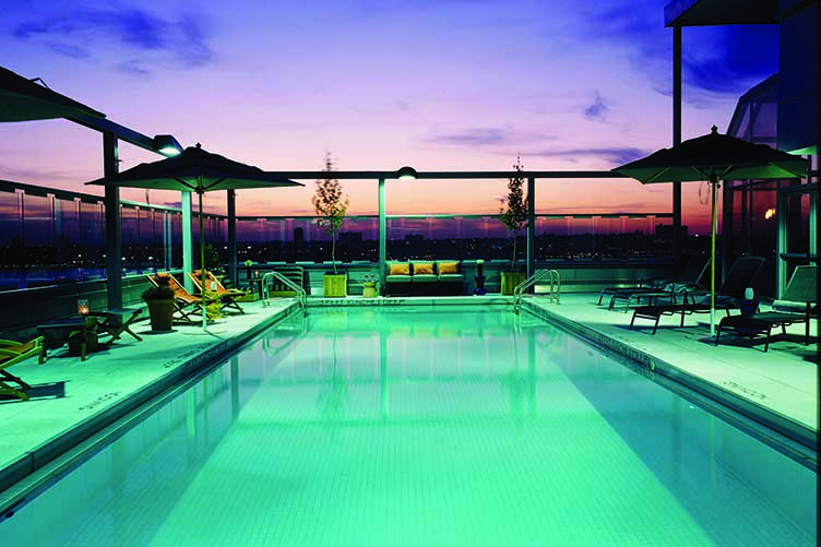 Gansevoort Meatpacking, Rooftop Pool at Dusk