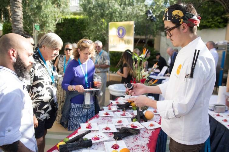 Guests enjoy the fare from SUSHISAMBA at the 7th Annual Carnival of Cuisine at The Palazzo