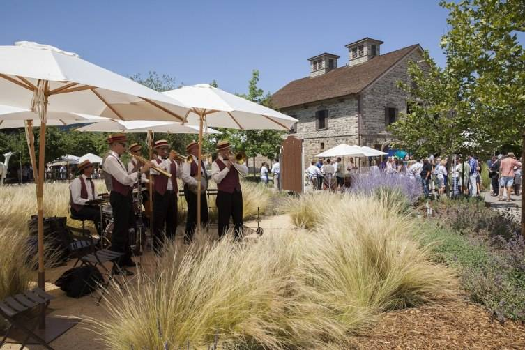 Guests were greeted by a ragtime band as they entered the Barrel Auction at HALL Wines.