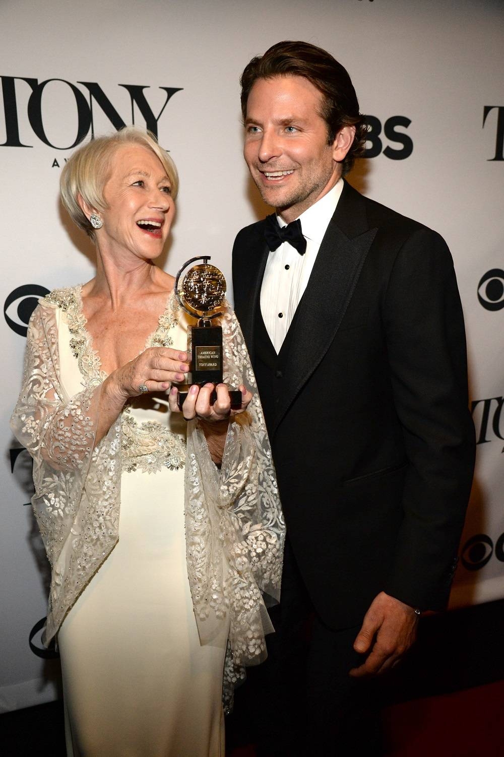 NEW YORK, NY - JUNE 07:  Helen Mirren and Bradley Cooper attend the 2015 Tony Awards at Radio City Music Hall on June 7, 2015 in New York City.  (Photo by Kevin Mazur/Getty Images for Tony Awards Productions)