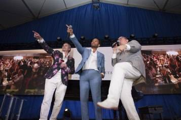 John Legend joins auctioneer Fritz Hatton auction off Lot Number 31 at Auction Napa Valley 2015. Photo by <a href=