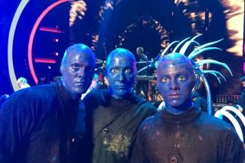 (L to R) Alan Ritchson, Blue Man and Joe Jonas as Honorary Members of Blue Man Group
