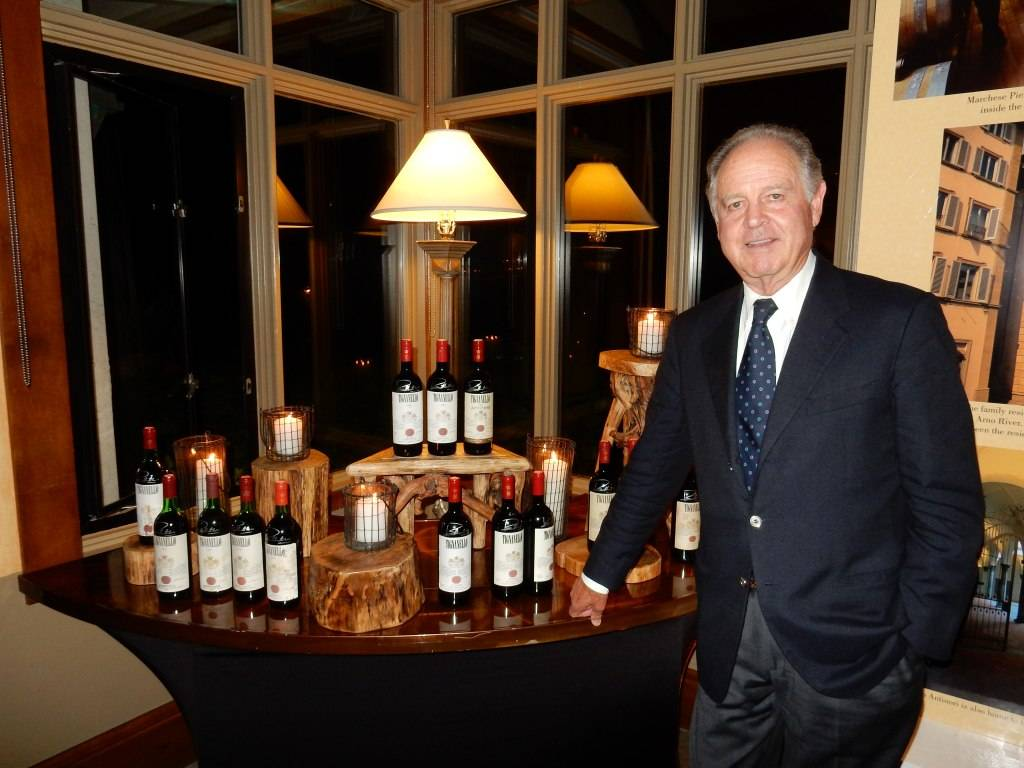 Marchese Piero Antinori with wine collector Rick Leese's collection of every vintage of Antinori Tignanello.