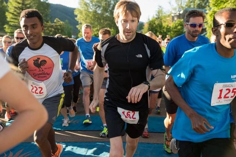 Chef Marcus Samuelsson (left) runs the FOOD & WINE Classic in Aspen Celebrity Charity 5K Run.