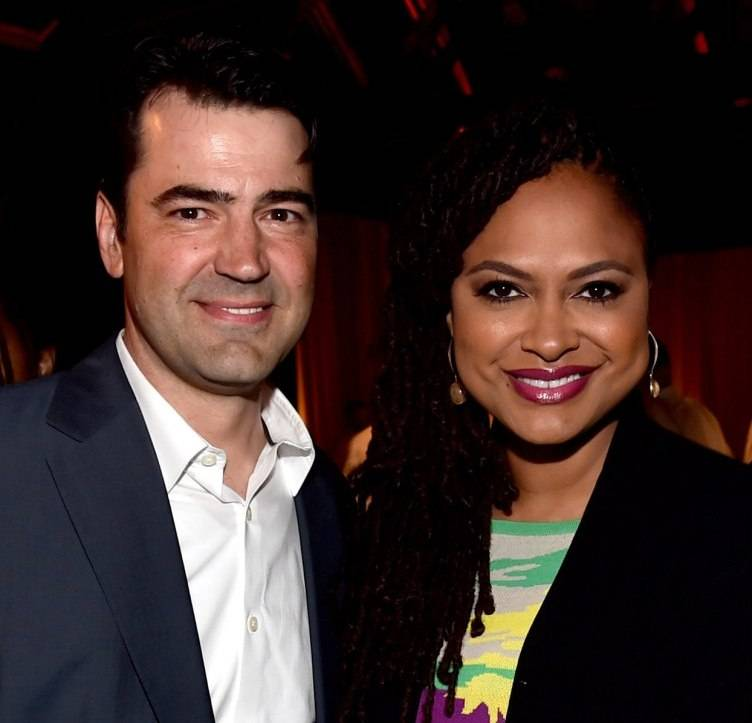 Actor Ron Livingston (L) and director Ava DuVernay