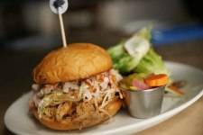 The pulled pork sandwich is made from heirloom Berkshire pork.