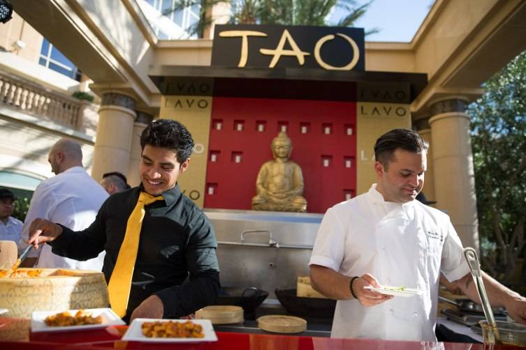 The team from TAO and LAVO prepare plates at the 7th Annual Carnival of Cuisine at The Palazzo