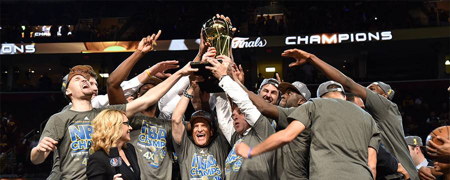 The Golden State Warriors celebrate their championship.