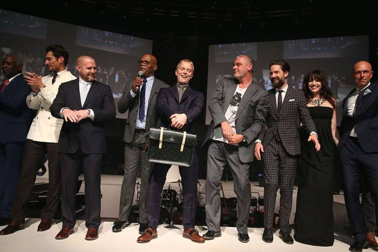 LONDON, ENGLAND - JUNE 12:  David Gandy, AJ Buckley, Samuel L. Jackson, Freddie Fox, Ray Stevenson, Jack Guinness, Daisy Lowe and Dylan Jones on stage at One For The Boys Fashion Ball hosted by Samuel L. Jackson, uniting men against cancer to kick start London Collections Men at The Roundhouse on June 12, 2015 in London, England.  (Photo by Mike Marsland/WireImage) *** Local Caption *** David Gandy; AJ Buckley; Samuel L. Jackson; Freddie Fox; Ray Stevenson; Jack Guinness; Daisy Lowe; Dylan Jones