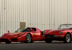 The 2004 Ferrari Enzo and 1967 Ferrari 330 GTS drive side by side