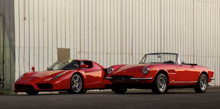 The 2004 Ferrari Enzo and 1967 Ferrari 330 GTS drive side by side
