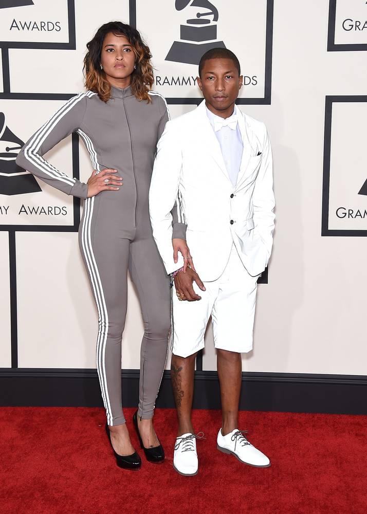 Pharrell Williams & wife Helen Lasichanh arrives to the 2015 Grammy Awards
