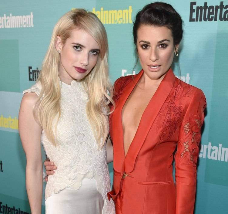 SAN DIEGO, CA - JULY 11:  Actresses Emma Roberts (L) and Lea Michele attend Entertainment Weekly's Comic-Con 2015 Party sponsored by HBO, Honda, Bud Light Lime and Bud Light Ritas at FLOAT at The Hard Rock Hotel on July 11, 2015 in San Diego, California.  (Photo by John Shearer/Getty Images for Entertainment Weekly)