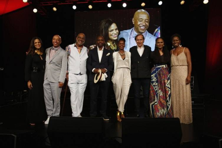 WATER MILL, NY - JULY 18:  Soledad O'Brien, Russell Simons, Danny Simmons, Dave Chappelle, Wangechi Mutu, Simon de Pury, Ava DuVernay and Tangie Murray attend as Russell Simmons' Rush Philanthropic Arts Foundation Celebrates 20th Anniversary At Annual Art For Life Benefit at Fairview Farms on July 18, 2015 in Water Mill, New York.  (Photo by Johnny Nunez/Getty Images for Rush Philanthropic Arts Foundation)
