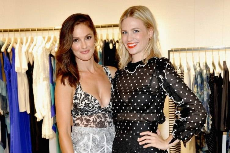 Minka Kelly (L) and January Jones attend the opening of the ZIMMERMANN Melrose Place Flagship Store hosted by Nicky and Simone Zimmermann