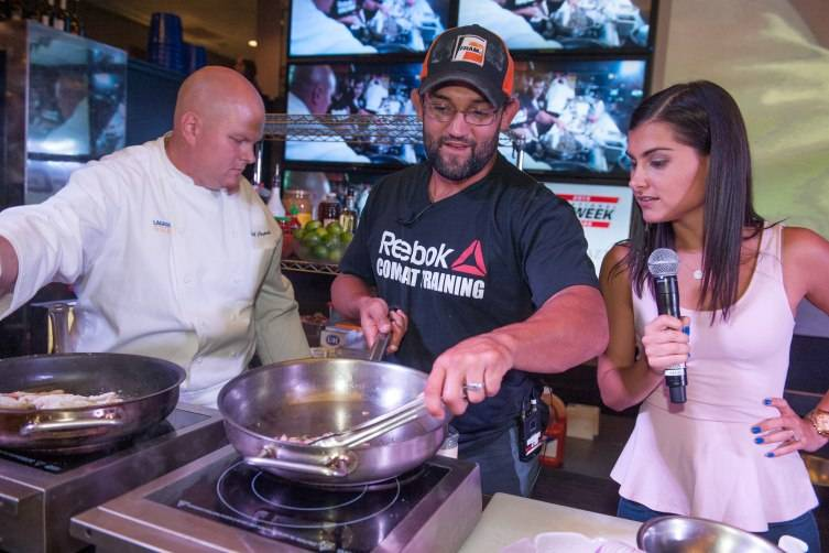 Chef de Cuisine at Lagasse's Stadium Scott Pajak, Johny Hendricks and MC Megan Olivi