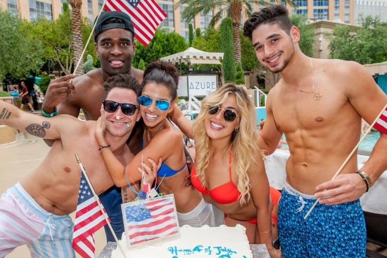 DWTS Live! cast from L-R; Sasha Farber, Keo Motsepe, Melissa Rycroft, Emma Slater, Alan Bersten at Azure Luxury Pool at The Palazzo Las Vegas