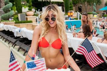 Emma Slater celebrating Fourth of July at Azure Luxury Pool at The Palazzo Las Vegas
