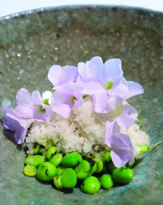 Green strawberry, peas, sorrel by Justin Cogley