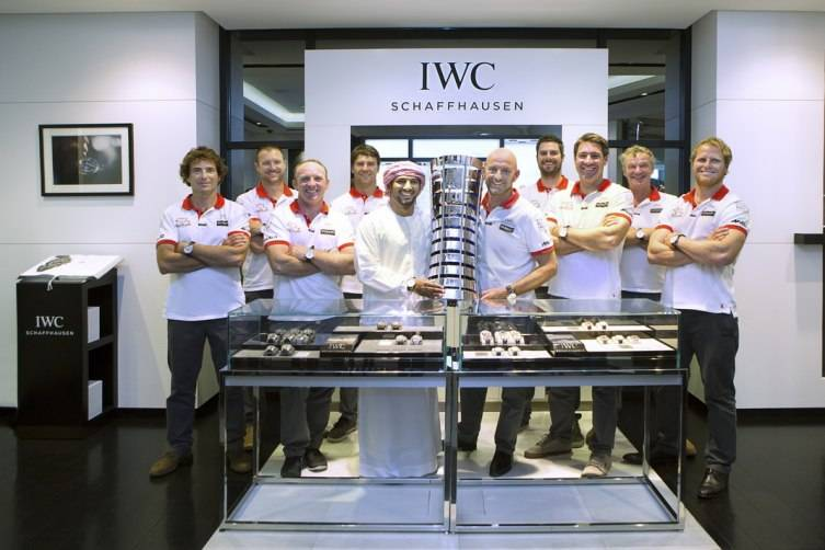 HANDOUT - Abu Dhabi, United Arab Emirates: Azzam Skipper Ian Walker and his crew Abu Dhabi Ocean Racing (ADOR) made a final stopover at the IWC boutique in The Galleria on Al Maryah Island in Abu Dhabi, with the coveted Volvo Ocean Race trophy to celebrate the win. (PHOTOPRESS/IWC)