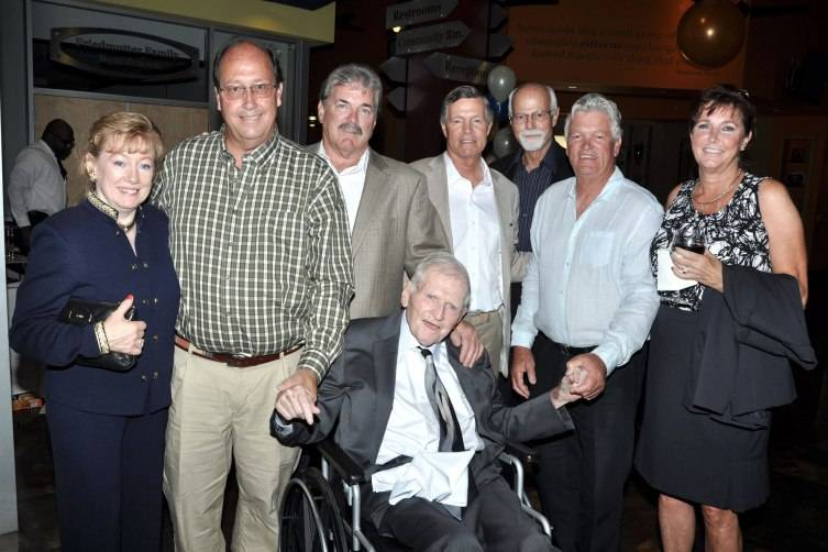 Janice Roye, Conrad Hilton III, Eric. M Hilton Jr., Steven M. Hilton, Bob Neapolitan, Barron Hilton, Beverly Neapolitan Hilton and Eric Hilton (seated)