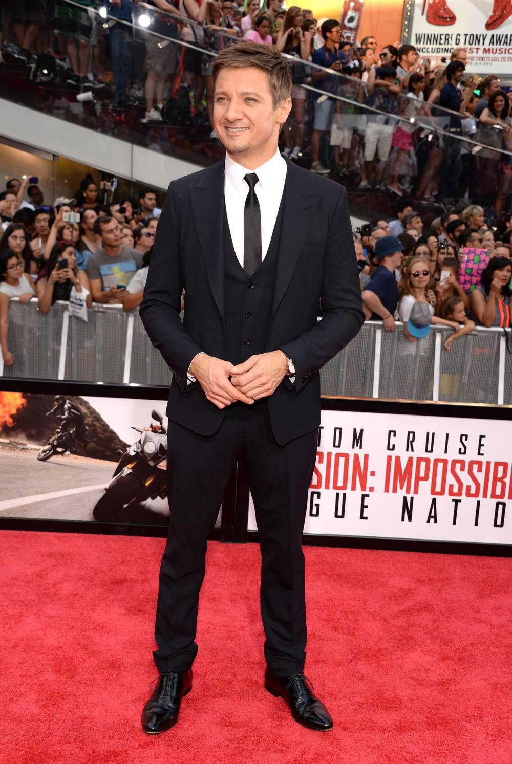Jeremy Renner wearing a Jaeger-LeCoultre Master Ultra Thin Tourbillon at the New York Premiere of Mission Impossible - Rogue Nation - GettyImages