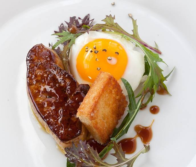 Seared foie gras with Cal's chicken egg purple mizuna