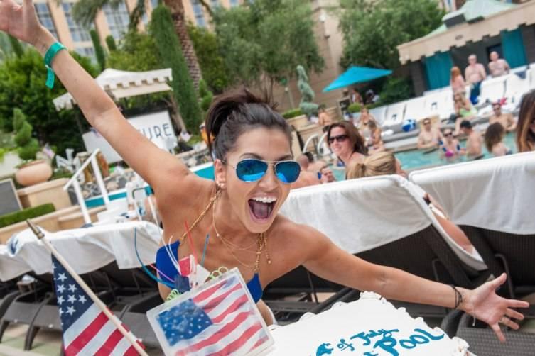 Melissa Rycroft celebrating Fourth of July at Azure Luxury Pool at The Palazzo Las Vegas