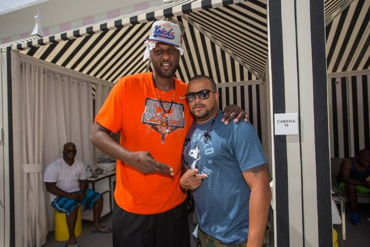 Professional basketball player Lamar Odom parties at Foxtail Pool inside SLS Las Vegas July 12_Tony Tran