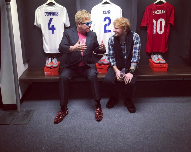 Elton John & Ed Sheeran backstag at Wembley.