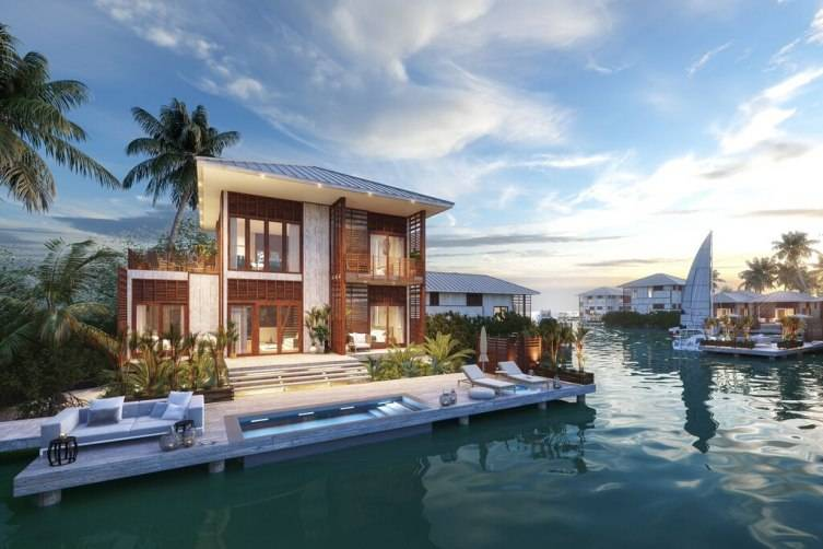 Renderings of three bedroom lagoon villa at Itz'ana