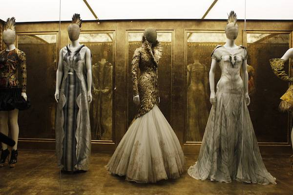 Creations by the late British designer Alexander McQueen are displayed during a preview at the Metropolitan Museum of Art in New York, May 2, 2011. An exhibition of McQueen's creations titled Savage Beauty will be on display at the museum from May 4-July 31, 2011. REUTERS/Finbarr O'Reilly (UNITED STATES - Tags: FASHION SOCIETY) - RTR2LWR6