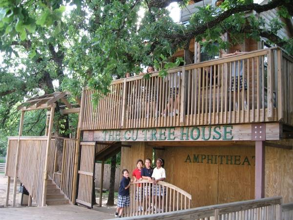 Children's University encourages children to develop and inclusive world view in an imaginative environment - like this treehouse amphitheater on campus.
