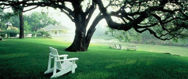 The property slopes down to the Brazos river - a picturesque spot to relax in the afternoon.
