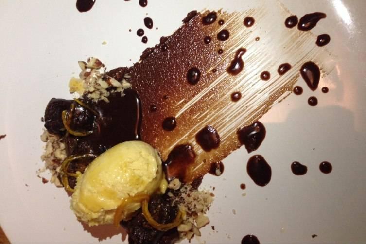 Chocolate Gnocchi with Orange Semifreddo
