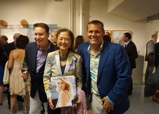 Doug Waggener, Olivia Decker and Mark Calvano at art gallery