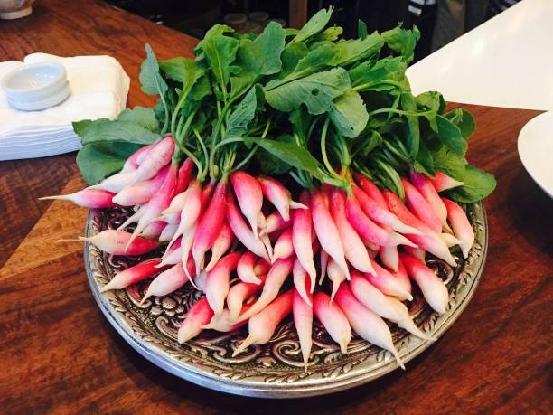 Fresh radishes for dipping in butter and salt