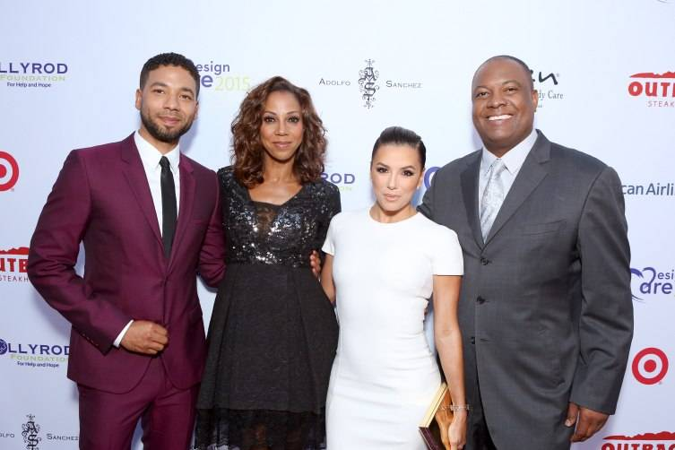 Jussie Smollett, actress Holly Robinson Peete, actress Eva Longoria and host Rodney Peete attend the HollyRod Foundation's 17th annual DesignCare Gala a