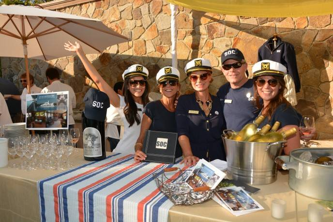 "David Duncan of Silver Oak Cellars, with his team promoting their auction lot of a cruise to Alaska via the Canadian coast aboard the Duncan family's own 122-foot luxury yacht, appropriately names the ""SOC."""