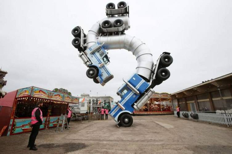 Image #: 38871634    Big Rig Jig, an artwork by Mike Ross, on display at Dismaland - Bemusement Park, Banksy's biggest show to date, in Western-super-Mare, Somerset.       PA PHOTOS /LANDOV