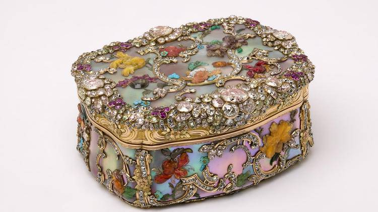 Inspiration for the Wear LACMA collection comes from objects in the museum's collection or special exhibition loans, such as this jeweled mother of pearl snuffbox, commissioned by Frederick the Great of Prussia, circa 1775