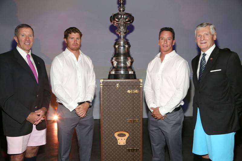 Michael Dunkley, Tom Slingsby, Bob Cassitty, Bill Hanbury attend #RaceToBermudaParty, A Kick-off to The Louis Vuitton America's Cup World Series in Bermuda