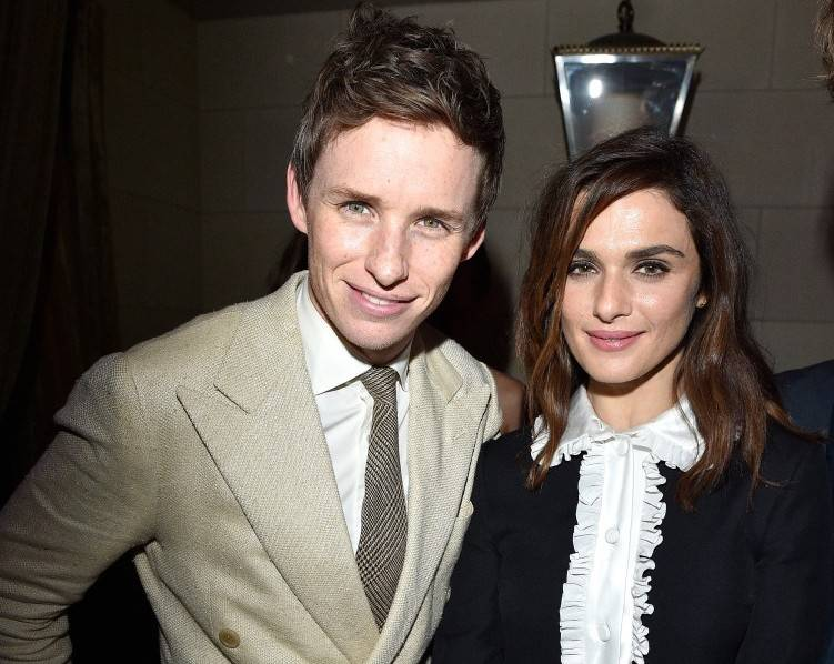 Eddie Redmayne (L) and actress Rachel