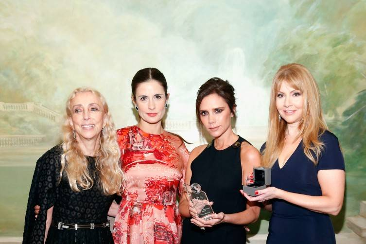 NEW YORK, NY - SEPTEMBER 28: (L-R) Goodwill ambassador Franca Sozzani, Livia Firth, UNAIDS goodwill ambassador Victoria Beckham and F4D Founder Evie Evangelou attend the Fashion 4 Development's 5th annual Official First Ladies luncheon at The Pierre Hotel on September 28, 2015 in New York City. (Photo by Brian Ach/Getty Images for Fashion 4 Development)