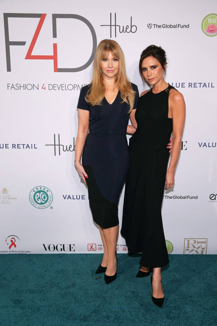 NEW YORK, NY - SEPTEMBER 28: F4D Founder Evie Evangelou (L) and UNAIDS goodwill ambassador Victoria Beckham attend the Fashion 4 Development's 5th annual Official First Ladies luncheon at The Pierre Hotel on September 28, 2015 in New York City. (Photo by Neilson Barnard/Getty Images for Fashion 4 Development)