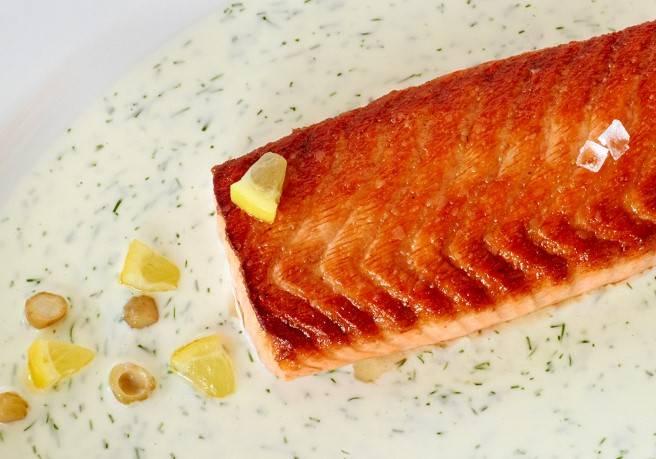 Fillet of Atlantic salmon: broiled on a cedar plank
